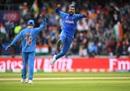 Hardik Pandya celebrates after dismissing Shoaib Malik for a duck, India v Pakistan, World Cup 2019, Manchester, June 16, 2019