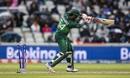 Sarfaraz Ahmed is bowled by Vijay Shankar, India v Pakistan, World Cup 2019, Manchester, June 16, 2019