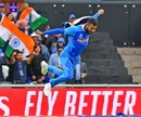 Hardik Pandya is cock-a-hoop after picking up two wickets in two balls, India v Pakistan, World Cup 2019, Manchester, June 16, 2019