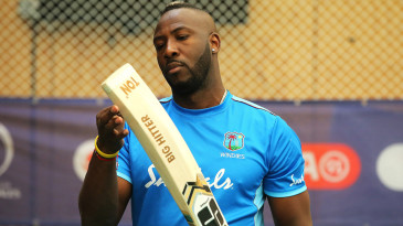 Andre Russell prepares to bat during a nets session