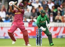 Evin Lewis plays one off the back foot as Mushfiqur Rahim looks on, Bangladesh v West Indies, World Cup 2019, Taunton, June 17, 2019