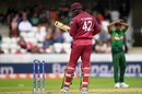 Oshane Thomas looks back as he dislodges a bail on his follow through, Bangladesh v West Indies, World Cup 2019, Taunton, June 17, 2019