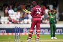 Oshane Thomas looks back as he dislodges a bail on his follow through, Bangladesh v West Indies, World Cup 2019, Taunton, June 17, 2019