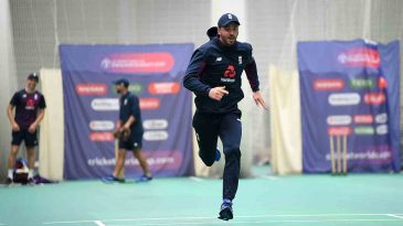 James Vince sprints during an indoor nets session