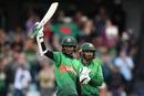 Shakib Al Hasan celebrates his century with Liton Das, Bangladesh v West Indies, World Cup 2019, Taunton, June 17, 2019