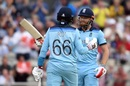 Jonny Bairstow celebrates his half-century with Joe Root, England v Afghanistan, World Cup 2019, Manchester, June 18, 2019