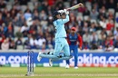 Joe Root takes flight as he hits a boundary over cover point, England v Afghanistan, World Cup 2019, Manchester, June 18, 2019
