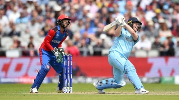 That's outta here! Eoin Morgan hit a record 17 sixes in his 71-ball 148