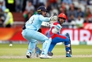 Hashmatullah Shahidi hits the ball past Jos Buttler, England v Afghanistan, World Cup 2019, Manchester, June 18, 2019