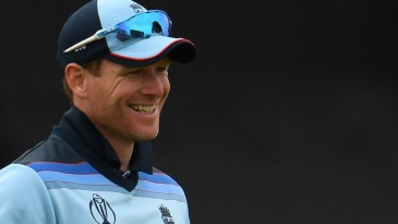 Eoin Morgan smiles after his English team flattens Afghanistan