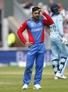 Rashid Khan looks on, England v Afghanistan, World Cup 2019, Manchester, June 18, 2019