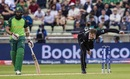 Lockie Ferguson bowls as Hashim Amla looks on, South Africa v New Zealand, World Cup 2019, Birmingham, June 19, 2019