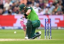 Faf du Plessis gets bowled by Lockie Ferguson, South Africa v New Zealand, World Cup 2019, Birmingham, June 19, 2019