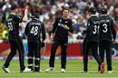Mitchell Santner celebrates with teammates after getting Hashim Amla out, South Africa v New Zealand, World Cup 2019, Birmingham, June 19, 2019