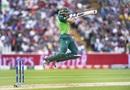 Aiden Markram takes flight as he plays a shot, South Africa v New Zealand, World Cup 2019, Birmingham, June 19, 2019