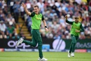 Chris Morris celebrates taking the wicket of Ross Taylor, South Africa v New Zealand, World Cup 2019, Birmingham, June 19, 2019