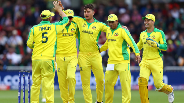 Marcus Stoinis is congratulated on a wicket