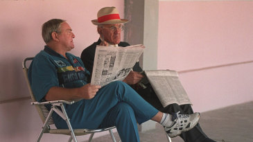 Dennis Silk with Ray Illingworth during the 1996 World Cup