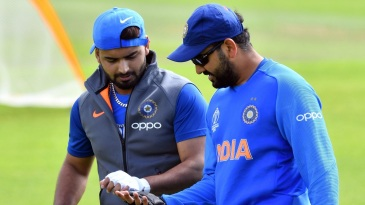 Rishabh Pant exchanges notes with Rohit Sharma in the nets