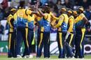 Lasith Malinga celebrates the wicket of James Vince with his teammates, England v Sri Lanka, World Cup 2019, Headingley, June 21, 2019