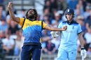 Lasith Malinga celebrates the wicket of Jos Buttler as Ben Stokes looks on, England v Sri Lanka, World Cup 2019, Headingley, June 21, 2019