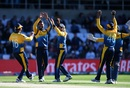 Dhananjaya de Silva celebrates with his teammates after dismissing Adil Rashid, World Cup 2019, Headingley, June 21, 2019