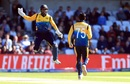 Dhananjaya de Silva celebrates with Kusal Perera after dismissing Adil Rashid, World Cup 2019, Headingley, June 21, 2019