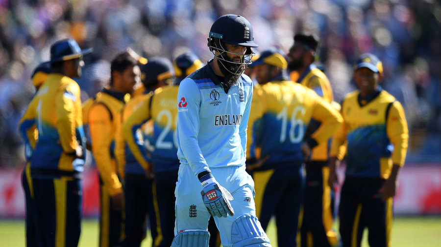Moeen Ali leaves the field after holing out
