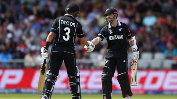 Kane Williamson and Ross Taylor congratulate each other as they both notch up fifties