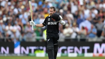 Kane Williamson celebrates reaching his second consecutive century of the World Cup