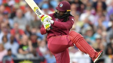 Chris Gayle plays a pull shot