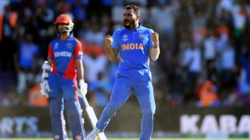 Mohammed Shami is pumped up after his hat-trick
