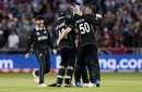 Jimmy Neesham is mobbed his teammates after taking Carlos Brathwaite's wicket to end the West Indies innings, New Zealand v West Indies, World Cup 2019, Manchester, June 22, 2019