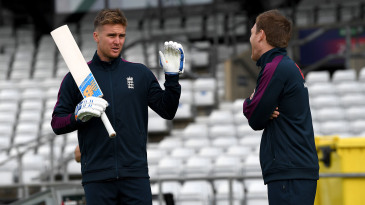 Jason Roy of England speaks with captain Eoin Morgan during a nets session at Headingley