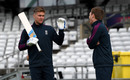Jason Roy of England speaks with captain Eoin Morgan during a nets session at Headingley, June 20, 2019