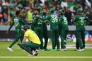 David Miller is on his haunches after Pakistan take another wicket, Pakistan v South Africa, World Cup 2019, Lords, June 7, 2019
