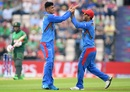Mujeeb Ur Rahman (L) celebrates the wicket of Shakib Al Hasan with Najibullah Zadran, Afghanistan v Bangladesh, World Cup 2019, Southampton, June 24, 2019
