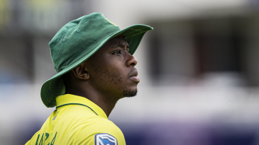 Kagiso Rabada wears a pensive look in the outfield