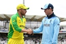 Aaron Finch and Eoin Morgan shake hands after the latter won the toss, England v Australia, World Cup 2019, Lord's, June 25, 2019