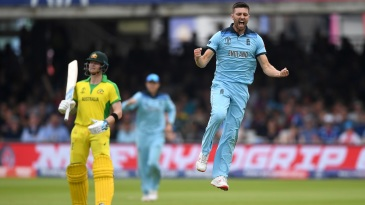 Mark Wood celebrates after dismissing Glenn Maxwell