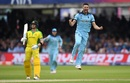 Mark Wood celebrates after dismissing Glenn Maxwell, England v Australia, World Cup 2019, Lord's, June 25, 2019