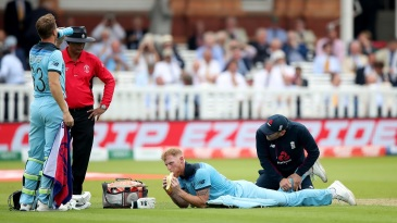 Ben Stokes receives treatment from physio