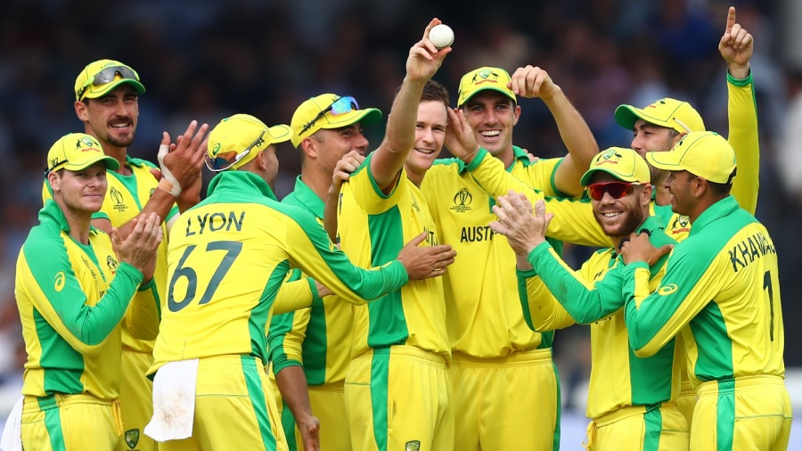 Jason Behrendorff's holds up the ball after taking his fifth wicket
