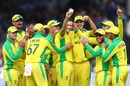 Jason Behrendorff's holds up the ball after taking his fifth wicket, England v Australia, World Cup 2019, Lord's, June 25, 2019