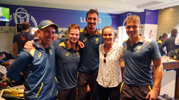 Ash Barty visits the Australian dressing room at Lord's