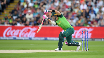 Faf du Plessis drives to the boundary