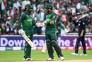 Mohammad Hafeez and Babar Azam touch gloves after a boundary, New Zealand v Pakistan, World Cup 2019, Birmingham, June 26, 2019