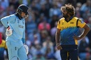 Lasith Malinga and Joe Root wait after a DRS appeal that ultimately proved succesful for Sri Lanka, England v Sri Lanka, World Cup 2019, Headingley, June 21, 2019