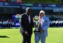 Clive Lloyd and Farokh Engineer carry out the trophy prior to the national anthems, India v West Indies, World Cup 2019, Old Trafford, June 27, 2019