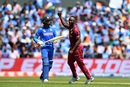Kemar Roach celebrates after taking the wicket of Vijay Shankar, India v West Indies, World Cup 2019, Old Trafford, June 27, 2019